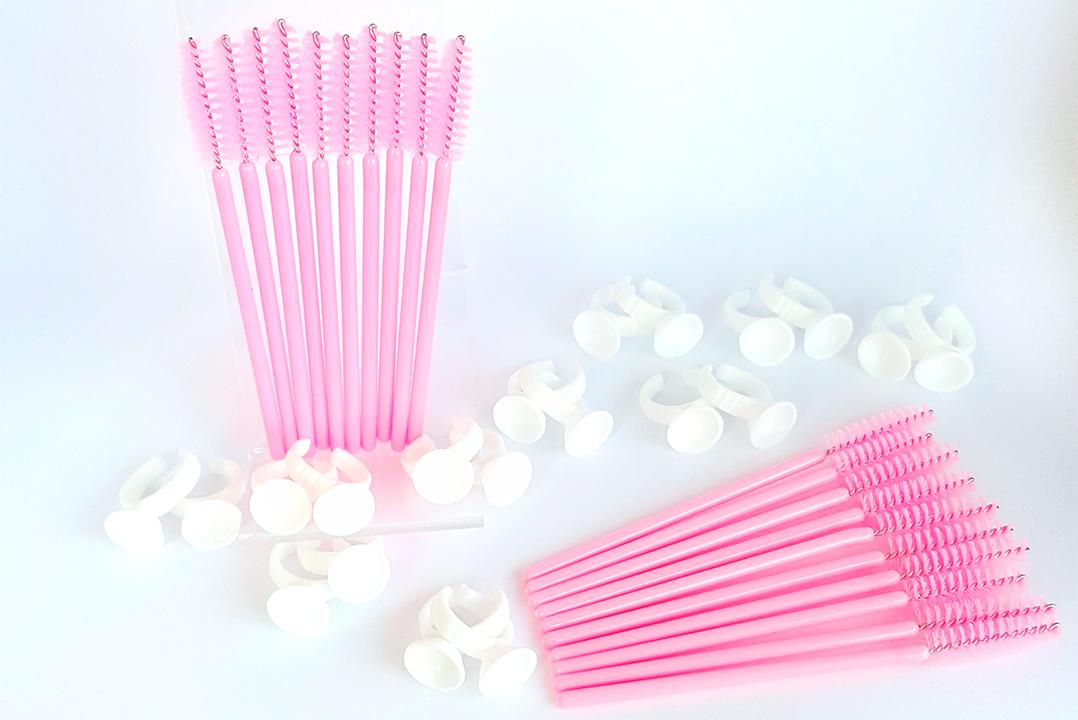 Eyelash limringe og børster(Sæt med 20 limringe og 20 børster)